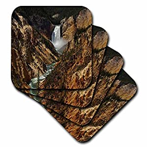 3dRose Lower Falls Yellowstone National Park - Ceramic Tile Coasters, set of 4 (cst_17296_3)