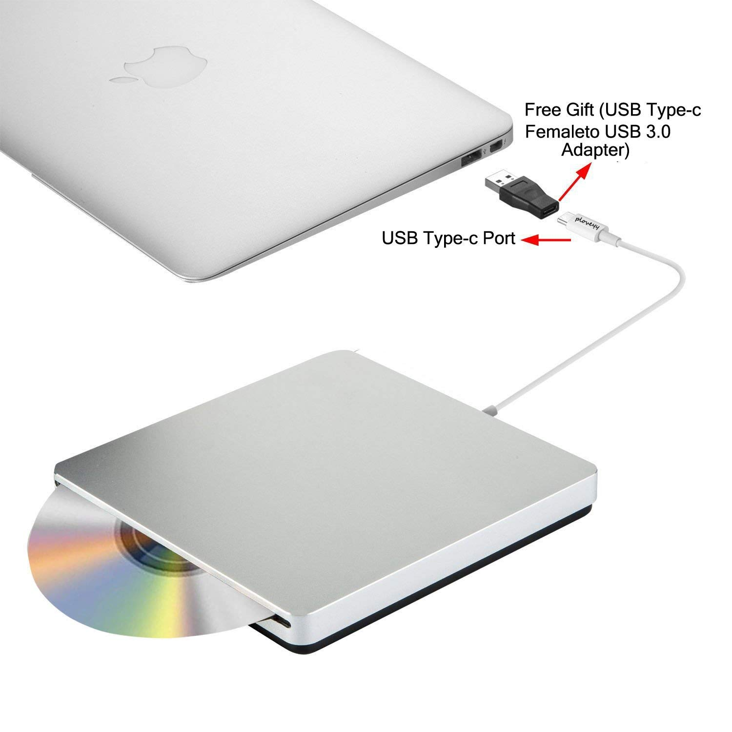 Ploveyy USB-C Superdrive External DVD/CD Reader and DVD/CD Burner for MacBook Air/Pro/iMac/Mini/MacBook Pro/ASUS/DELL Latitude with USB-C Port Plug and Play - Silver, Premium Series by Ploveyy (Image #4)