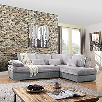Classic Large Brush Microfiber L Shape Sectional Sofa Couch With Chaise  Lounge (Dark Grey / Light Grey)