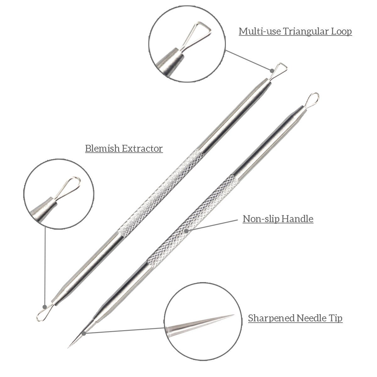 Beautyer Blackhead Remover Kit Comedone Extractor Tool Stainless Steel Removal Kit for Acne Blemish Whitehead Treatment - 5Pcs Zit Extractor Tweezers