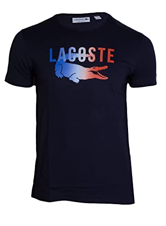 05a5545665 Lacoste Tri-color Crocodile Tee, Navy, XXL | Amazon.com