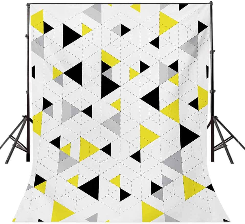 Geometric 10x12 FT Photography Backdrop Abstract Triangles Diamond Motives in Mosaic Puzzle Style Illustration Print Background for Baby Shower Bridal Wedding Studio Photography Pictures Yellow Blac