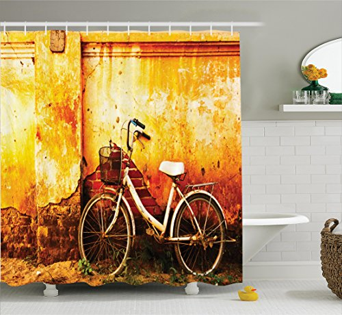 Bicycle Decor Shower Curtain Set By Ambesonne, Vintage Bike In Front Of A Rusty Dirty Cracked Broken Brick Wall City Lifestyle Artsy Photo, Bathroom Accessories, 69W X 70L Inches, - Bike Textile