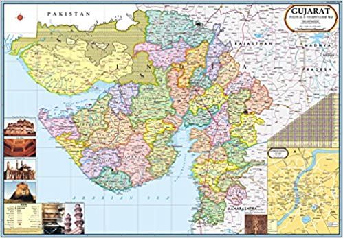 map of gujarat district Buy Gujarat Map With 7 New Districts Book Online At Low Prices In map of gujarat district