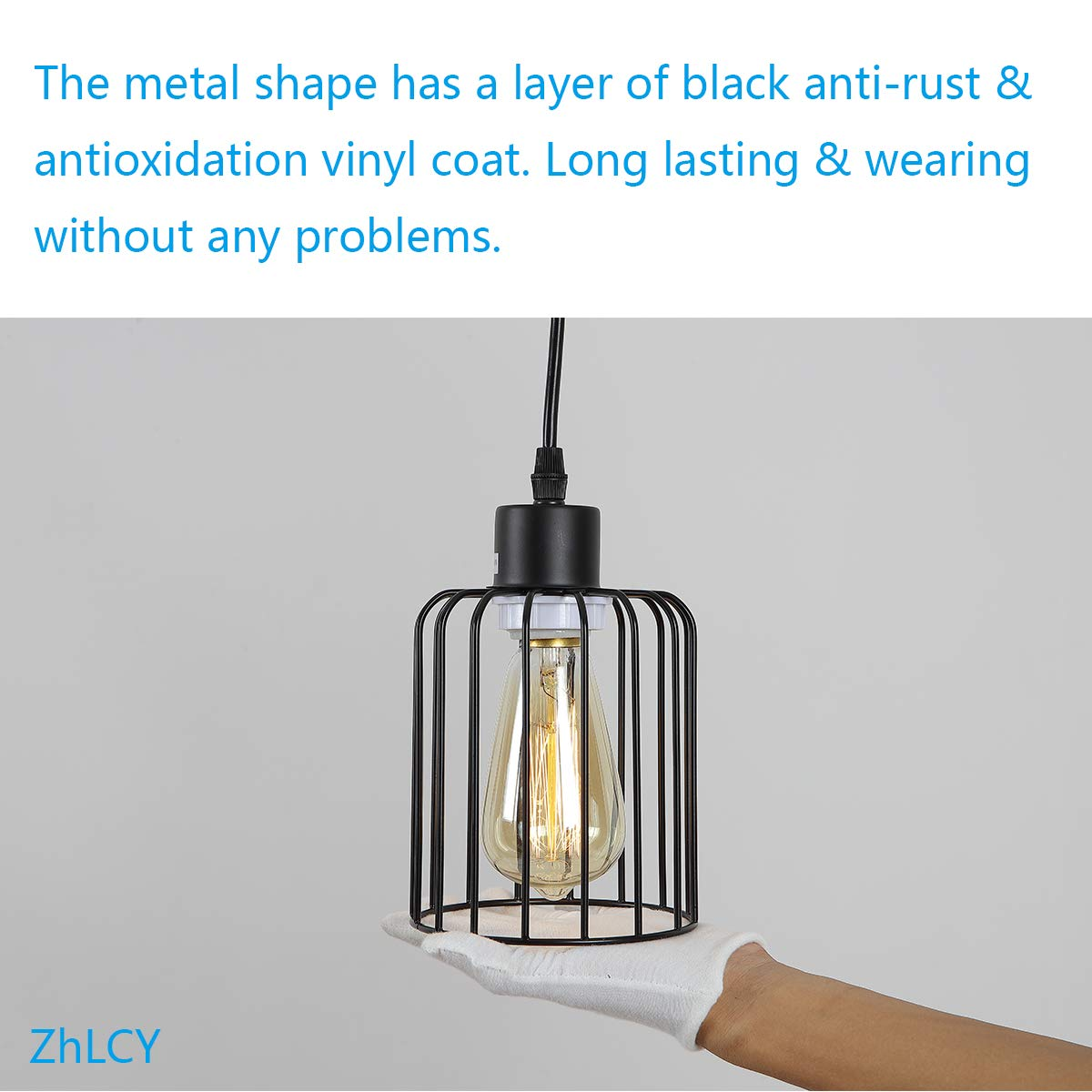 ZhLCY 2 Pack Vintage Mini Wire Pendant Lights with Matte Black Metal Shape, Industrial Caged Hanging Lights, Rustic Farmhouse Lighting Fixtures for Kitchen Loft Bar Counter Foyer Dining Room