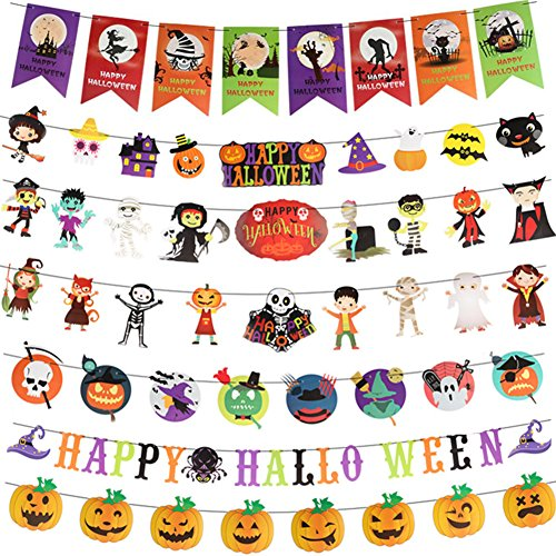 Halloween String Banner Garland Bunting Felt  Streamer ,Happy Halloween Hanging Scary Decorations Signs for Party Home School Pub(7Pack)