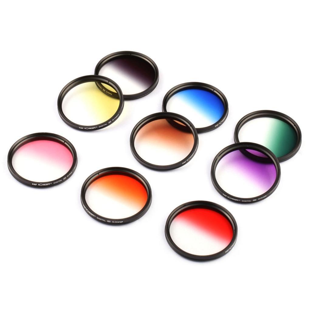 3 Estuches para Filtros 9 Piezas Graduado Filtro Kit para Nikon D5300 D5200 D5100 D3300 D3200 D3100 DSLR C/ámaras K/&F Concept 52mm 18 Piezas Pack de Filtros 9 Piezas Ronda Filtro Kit de Todo Color