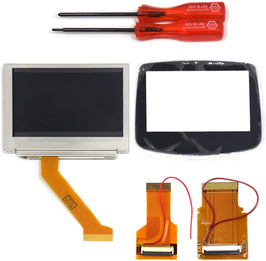 TOMSIN MOD LCD Backlight Kit 32 Pin 40 Pin GBA SP AGS-101 Backlit Screen  with Glass Screen Lens Panel for Gameboy Advance