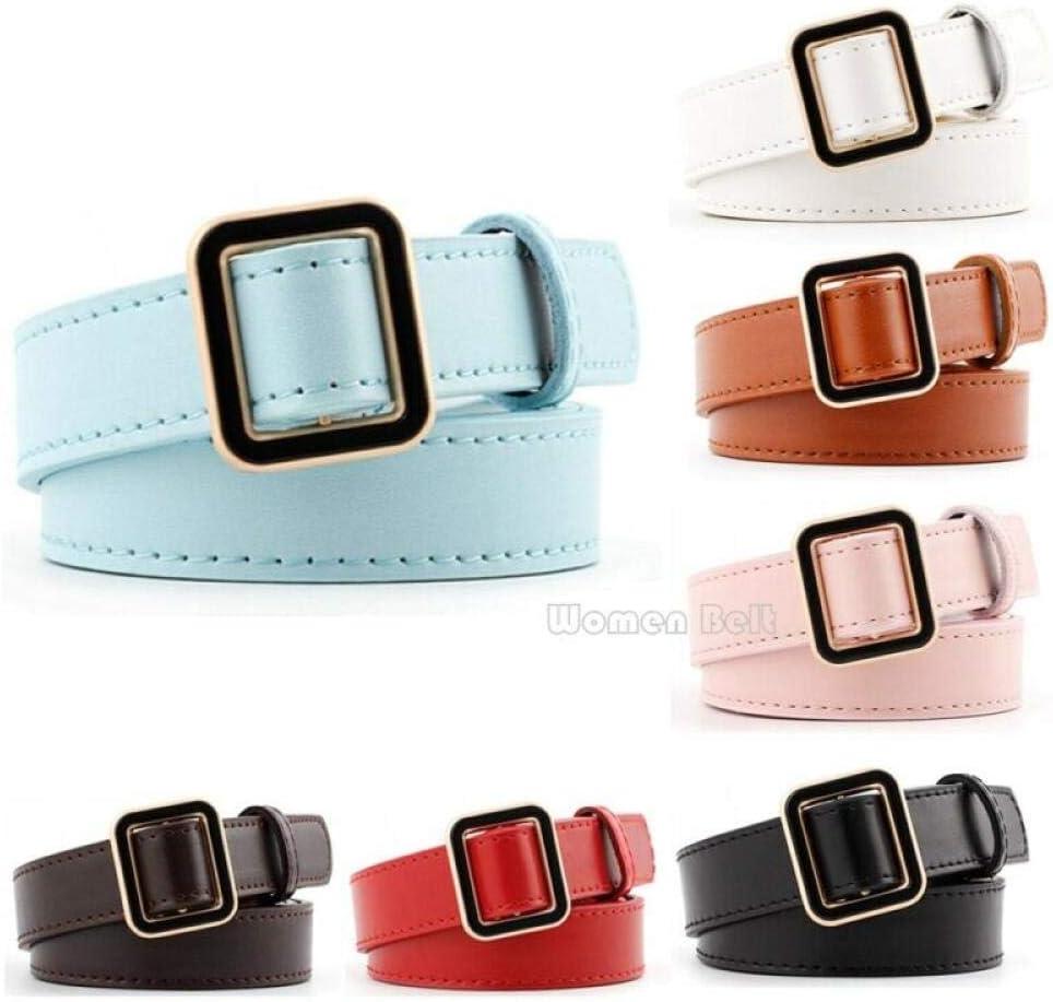 Cinturón Cinturón De Mujer De Moda PU Cinturón De Cuero Hebilla De Cinturón Cinturón De Color Sólido Boho Cinturón 7 Colores