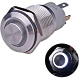"Ulincos Latching Push Button Switch U16F2 1NO1NC SPDT ON/OFF Silver Stainless Steel Shell with White LED Ring Suitable for 16mm 5/8"" Mounting Hole (White)"