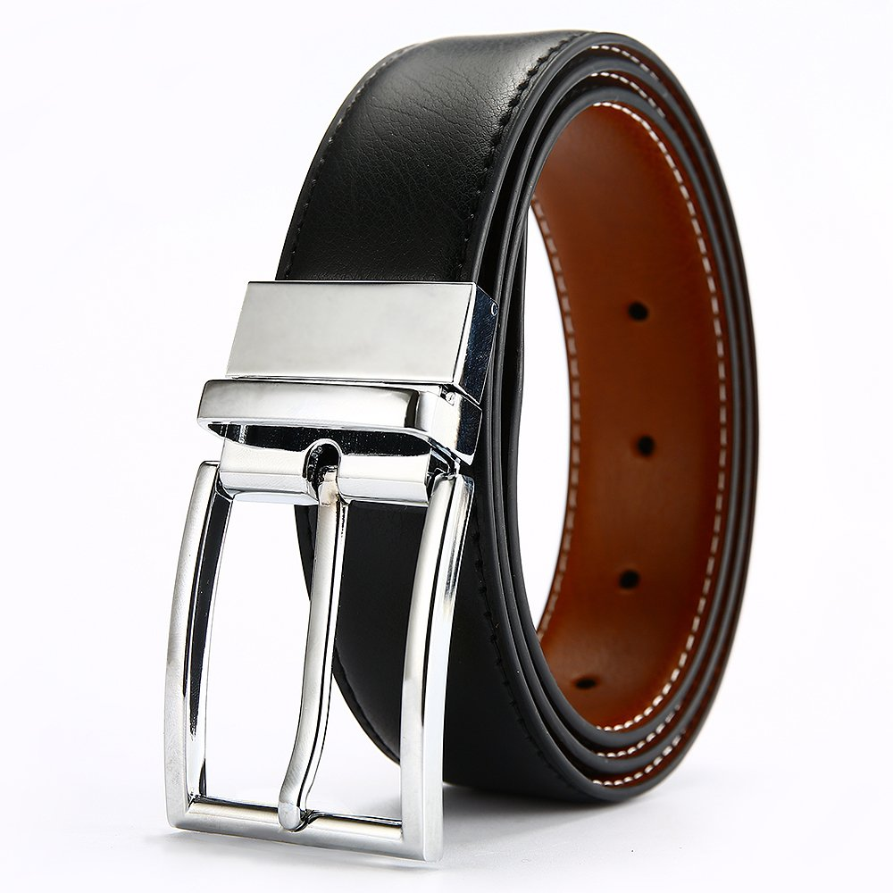 DWTS Men's Genuine Leather Dress Belt For Men Reversible with Rotated Buckle,01brownblack,Size = 34,suitable for 32 waist