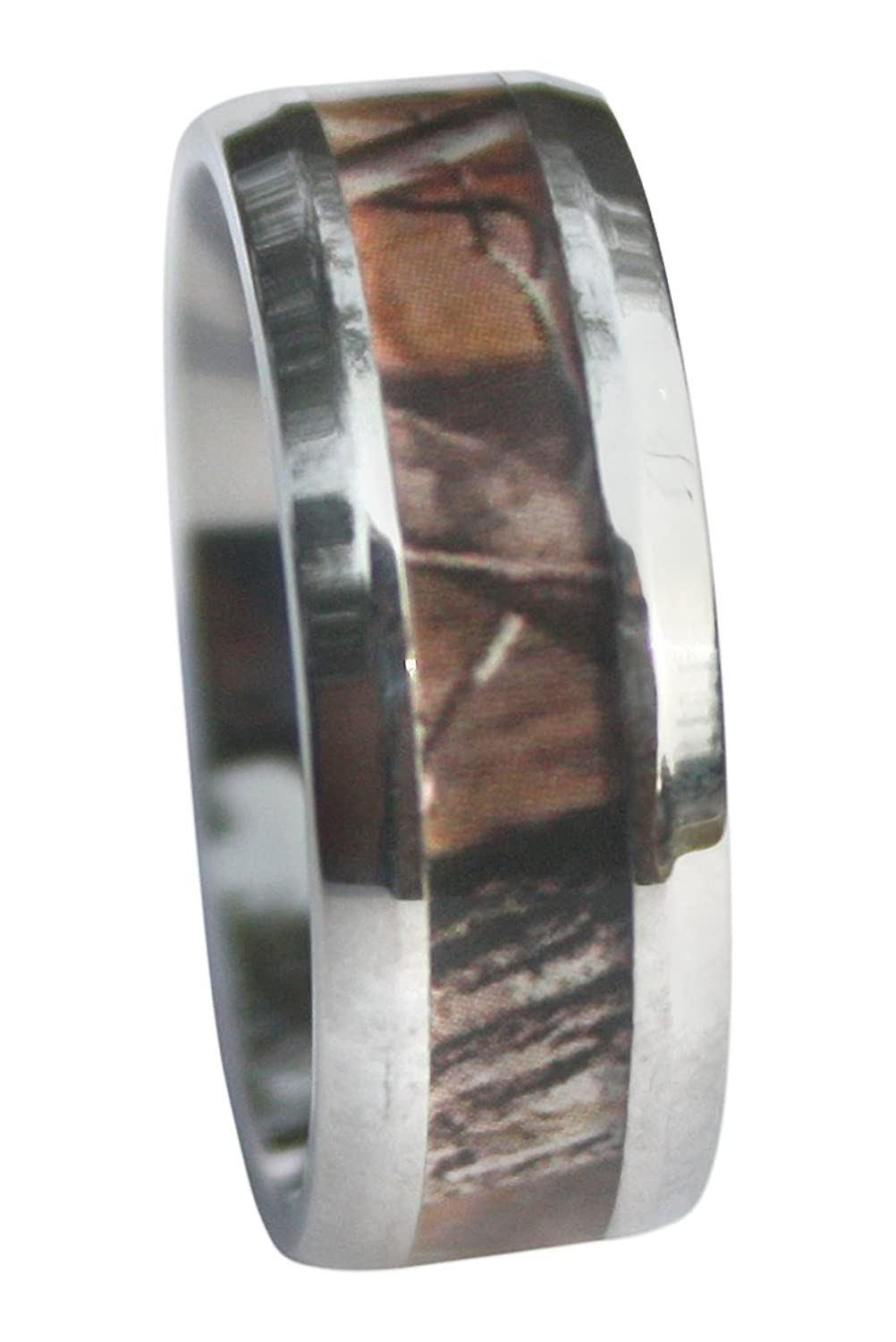 Silver Stainless Steel 8mm, Comfort Fit, Deep Woods Hunter Camo ...