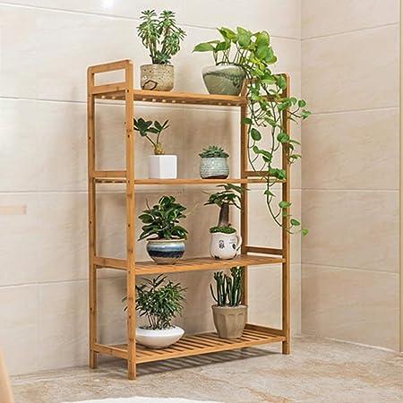 Huahua Furniture Escalera para Flores, Estante de bambú para Almacenamiento de exhibición de Estante de bambú