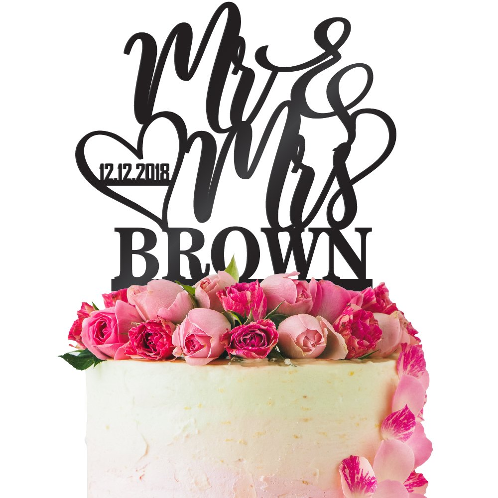 Personalized Wedding Cake Topper Customized Wedding Date, Mr. and Mrs. Last Name 4 Color Type and 24 Colors Design 5 (Solid Colors)