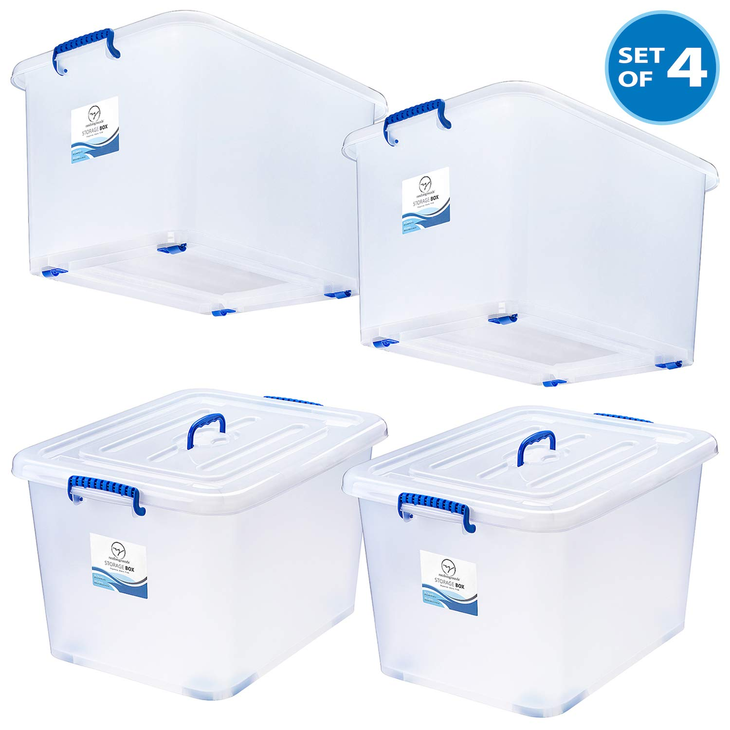 Large Strong Storage Box - 95 Qt White Semi-Transparent Plastic Storage Bins with Lids and Wheels - Stackable Space-Saver Containers - Tough and Secure Organizers for Home, Office, School - Set of 4 by randomgrounds