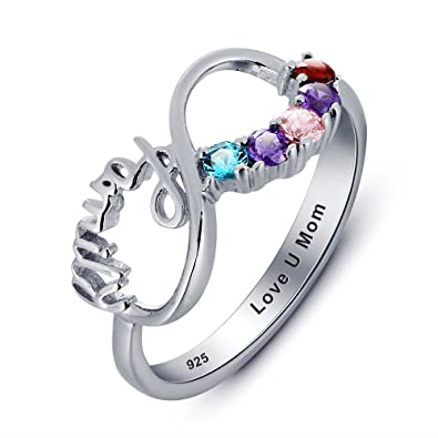 06e193d4e Personalized Mothers Ring with 5 Birthstones and 1 Engraving Size 6