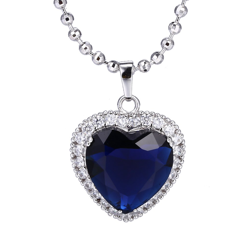XUPING Christmas Blue The Heart of the Ocean Love Necklaces & Pendant Jewelry Box WomenM11-43168 (Dark Blue)