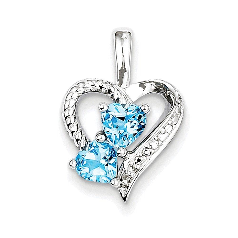 Lex /& Lu Sterling Silver Blue Topaz Diamond Pendant LAL25008