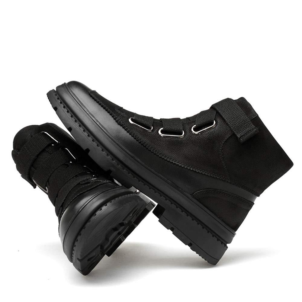 HILOTU Mode Herren Stiefeletten Casual Fashion Nähte OX Leder Set Set Set Fuß Anti-Rutsch-Laufsohle Chukka Stiefel (warme Samt Optional) (Farbe   Schwarz, Größe   40 EU) 3ceb50