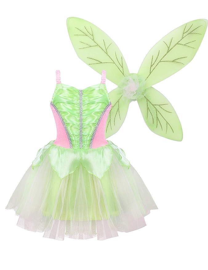 YiZYiF Disfraz Hada del Bosque Niñas Vestido Princesa con Alas ...