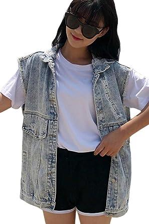 Chaleco Vaqueros Mujer Primavera Verano Fashion Vintage Ropa Agujeros Chaleco Camisas Anchas Casuales Tendencia Chaqueta Vaquera Sin Mangas Niña: Amazon.es: Ropa y accesorios
