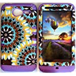Cellphone Trendz (TM) Hybrid Rocker High Impact Bumper Case Psychedelic Tie-Dye Aztec Tribal / Purple Silicone for Motorola Electrify M XT901