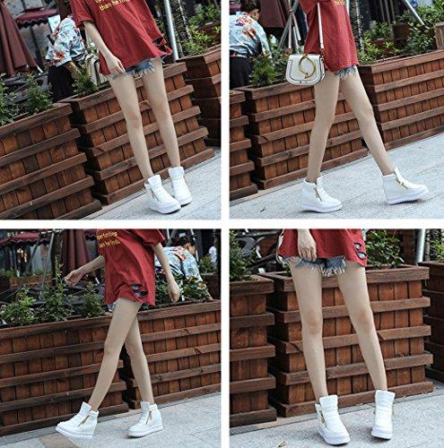 Gaorui Vrouwen Antislip Slip Op High-top Verborgen Wedge Sneakers Rits Platform Lift Hoge Hakken Schoenen Wit