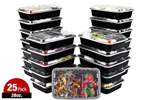 ISO Meal Prep Containers with Lids Certified BPA-Free Stackable Reusable Microwave/Dishwasher/Freezer Safe 28 oz, 25 Count, BLACK