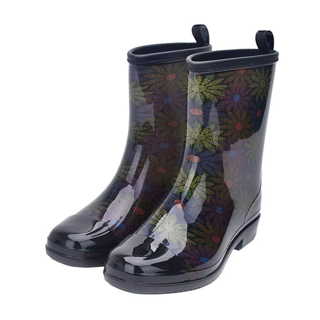 Jiu du Women's Block Heel Waterproof Rain Boots and Garden Round Toe Fashion Rain Shoes