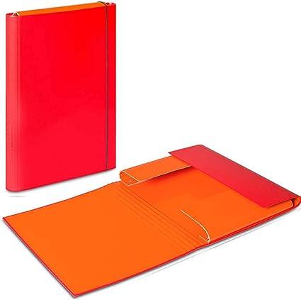 Rojo – Naranja A4 Carpeta De Documentos (Elastic Band Caja de almacenaje de archivos carpeta Carpetas de papel cartón duro Organizador Duo colores: Amazon.es: Oficina y papelería