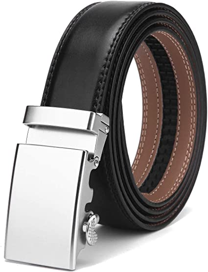 bllack, Up to 44 waist adjustable Mens Belt,Nelbons Slide Ratchet Belt for Men with Genuine Leather 1 3//8,Trim to Fit /…