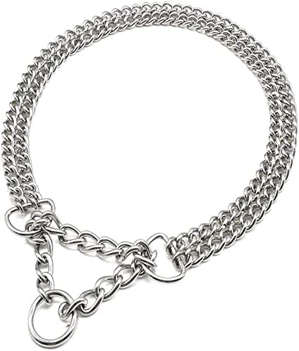 Beirui Dog Pet Martingale Pinch Metal Slip Choke Stainless Steel Chain Collar for Training Walking Obedience Behavior Link Double Plated for Small Medium and Large Dogs