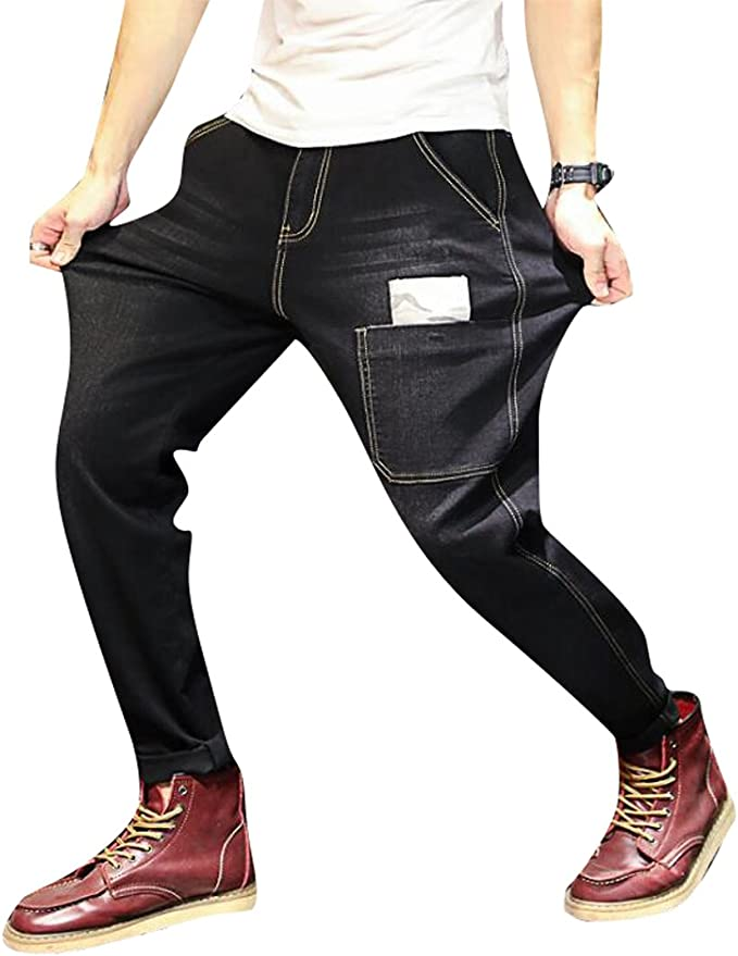 ARTFFEL Mens Casual Slim Mid Waist Straight Leg Ripped Destroyed Denim Jeans Pants