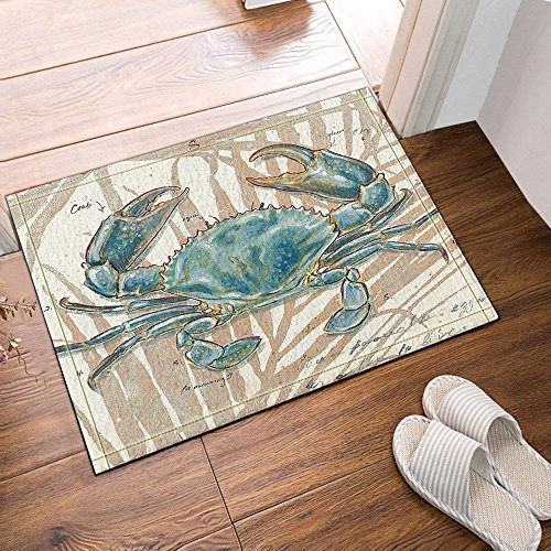 Ocean Animal Decor Blue Crab Bath Rugs Friendship Bath Rugs Non-Slip Floor Entryways Outdoor Indoor Front Door Mat 23.6X15.7in Bathroom Mat from Nyngei