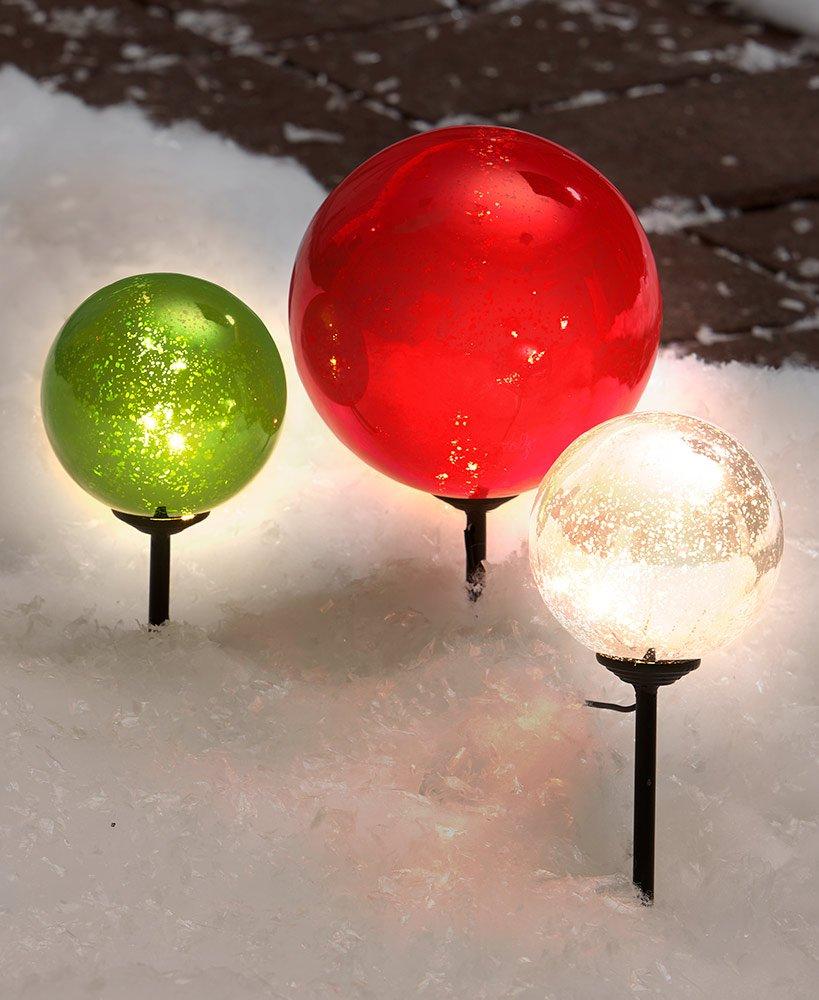 The Lakeside Collection Set of 3 Solar Christmas Gazing Balls