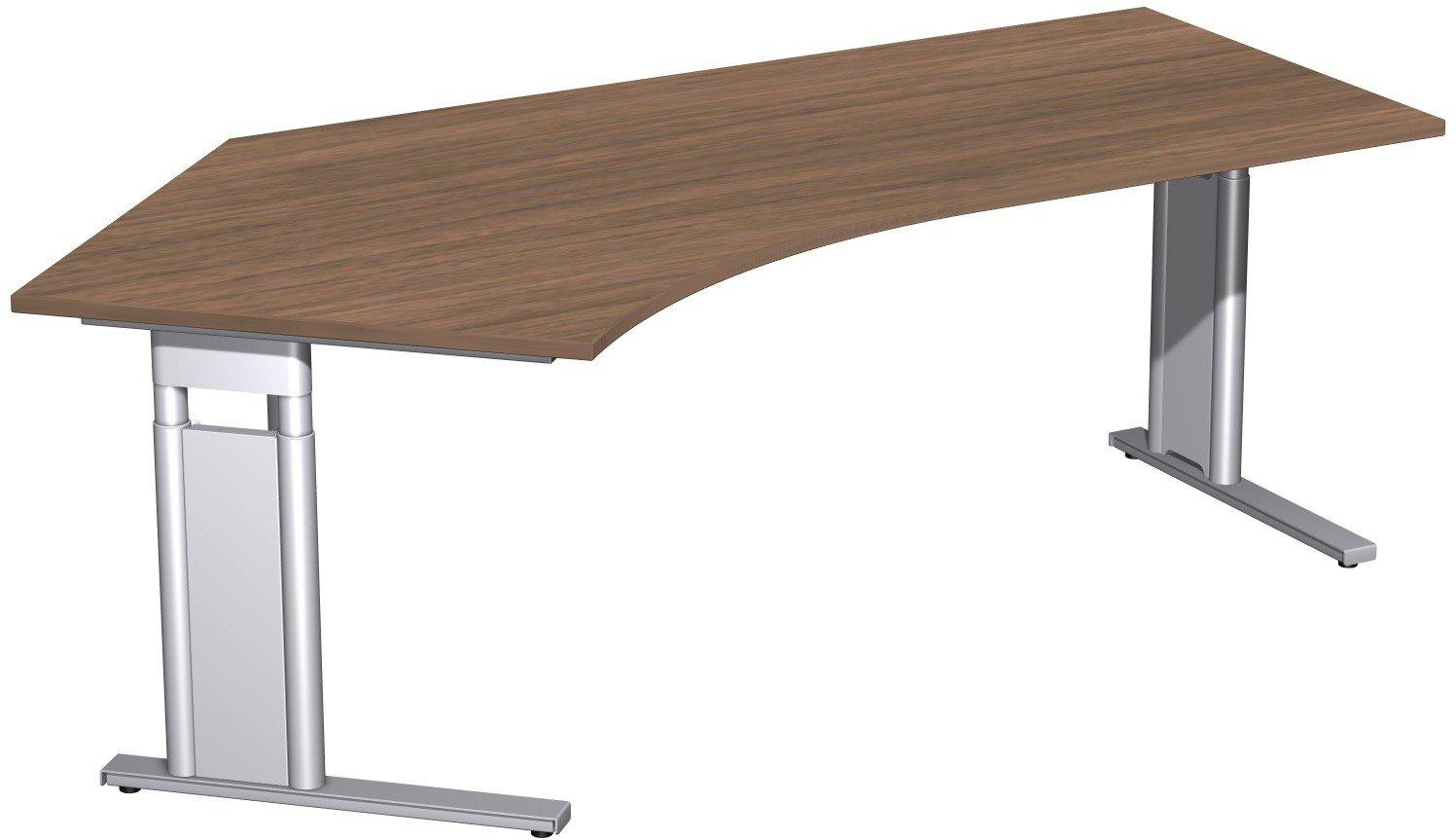 Geramöbel Schreibtisch 135° links höhenverstellbar, C Fuß Blende optional, 2166x1130x680-820, Nussbaum/Silber