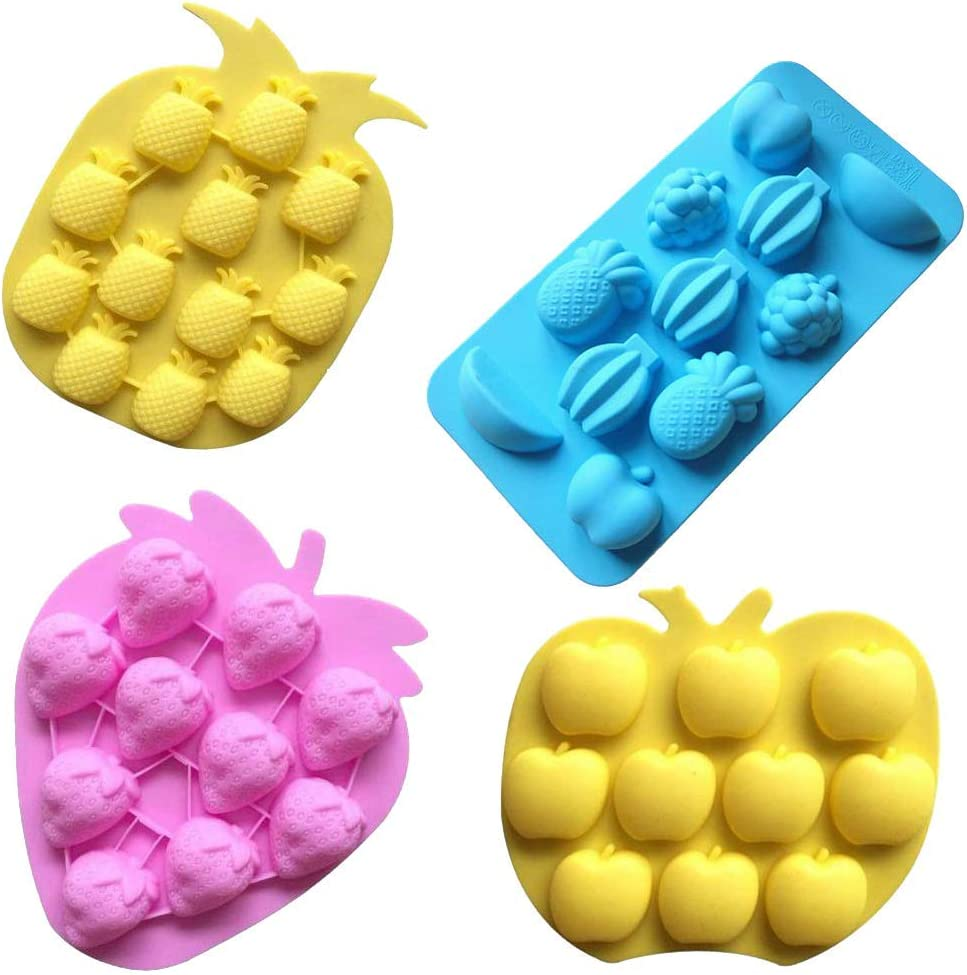 Wetco Chocolate Candy Silicone Mold, Strawberries/Pineapples/Apples/Grapes Flexible Baking Molds for Ice Cube, Jelly, Biscuits, Gummy Candies (Set of 4)