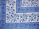 Homestead Rajasthan Block Print Tapestry Cotton Bedspread 106'' x 106'' Queen Blue