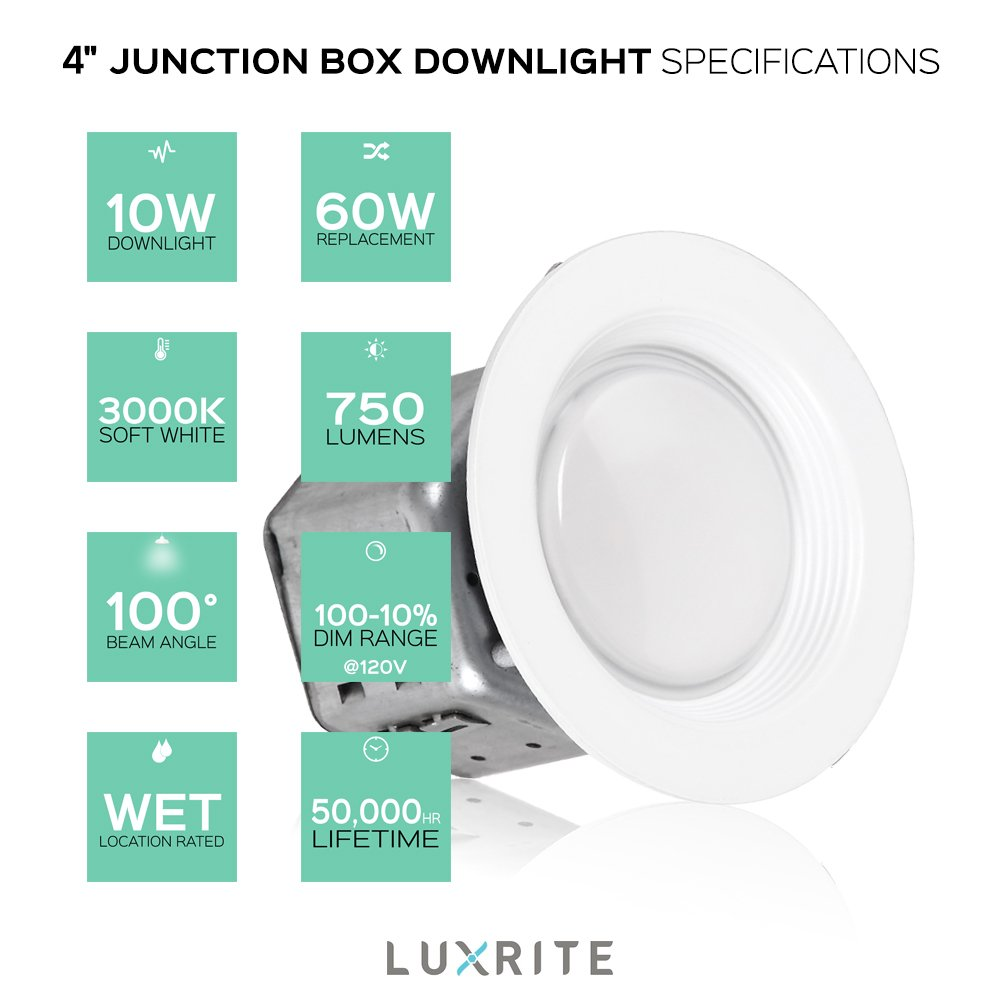 Pack of 4 luxrite 4 inch junction box led downlight 10w 60w pack of 4 luxrite 4 inch junction box led downlight 10w 60w equivalent 120 277v 3000k soft white 750 lumens energy star outdoor recessed light cheapraybanclubmaster Image collections