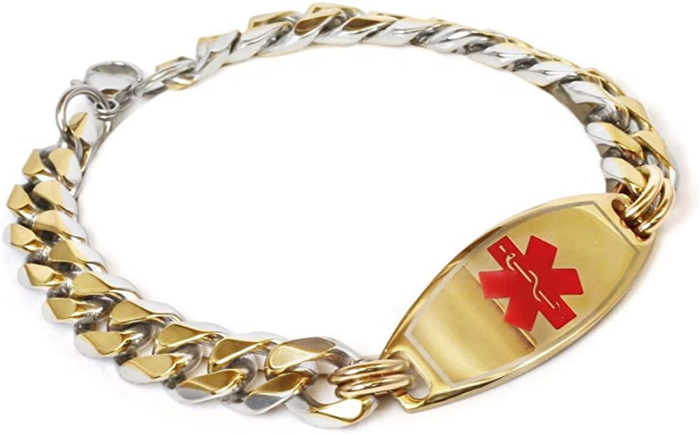 My Identity Doctor Mens Custom Engraved Medical Bracelet Gold Toned 316L Stainless Steel, 1cm