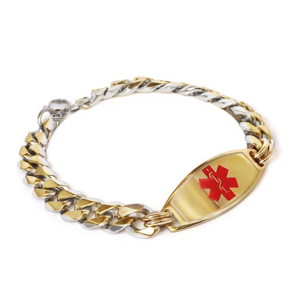 My Identity Doctor Mens Custom Engraved Medical Bracelet Gold Toned 316L Stainless Steel, 1cm