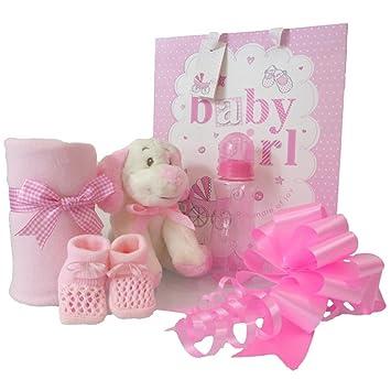Juego de cesta de regalo para bebé niña, cesta rosa/baby shower regalos para niñas/rapido dispatch: Amazon.es: Bebé