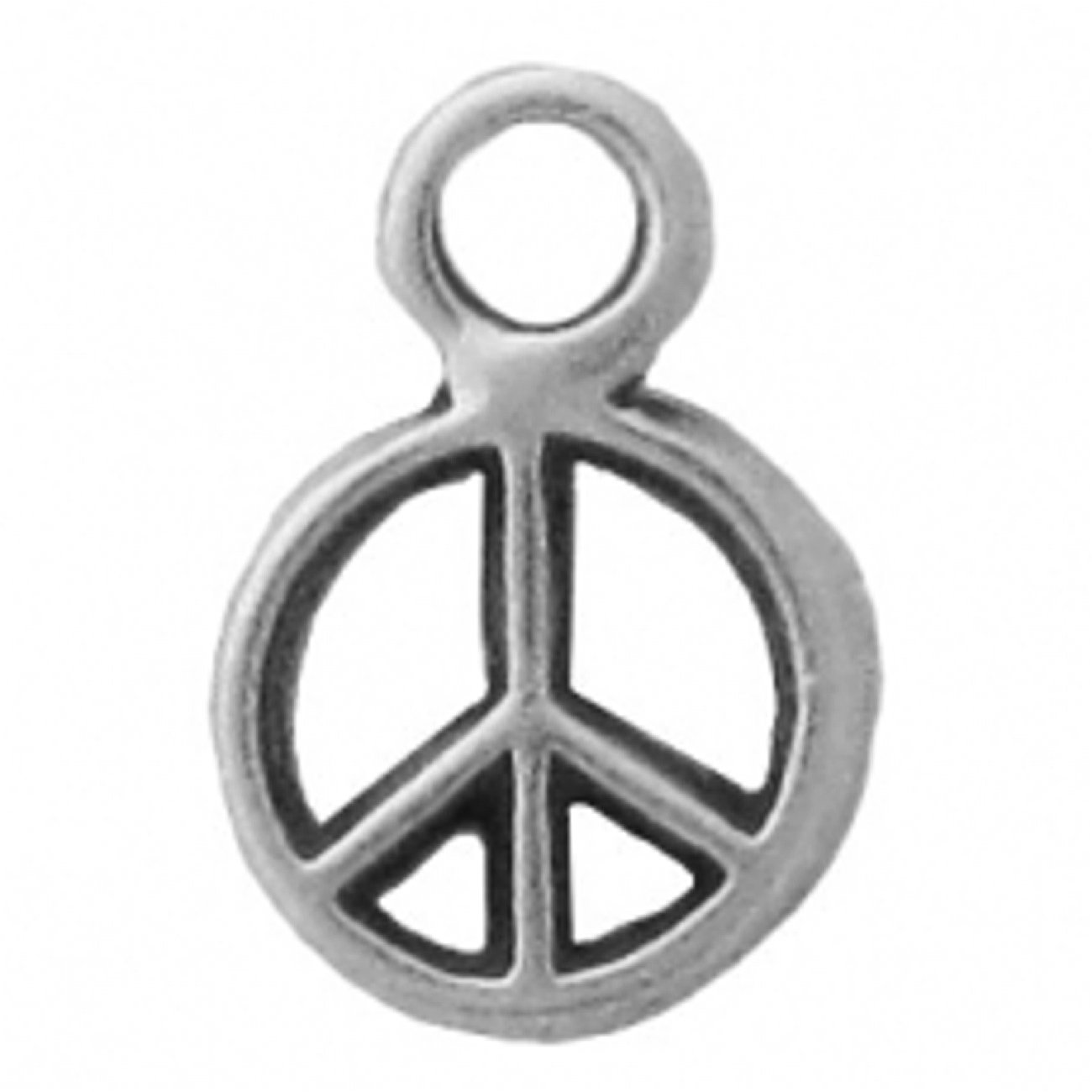 Sterling Silver 7 4.5mm Charm Bracelet With Attached Small Peace Symbol Sign Charm