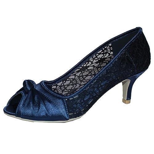 Navy blue wedding shoe amazon chic feet womens satin lace prom wedding bridal ladies peep toe low heel party court junglespirit Image collections