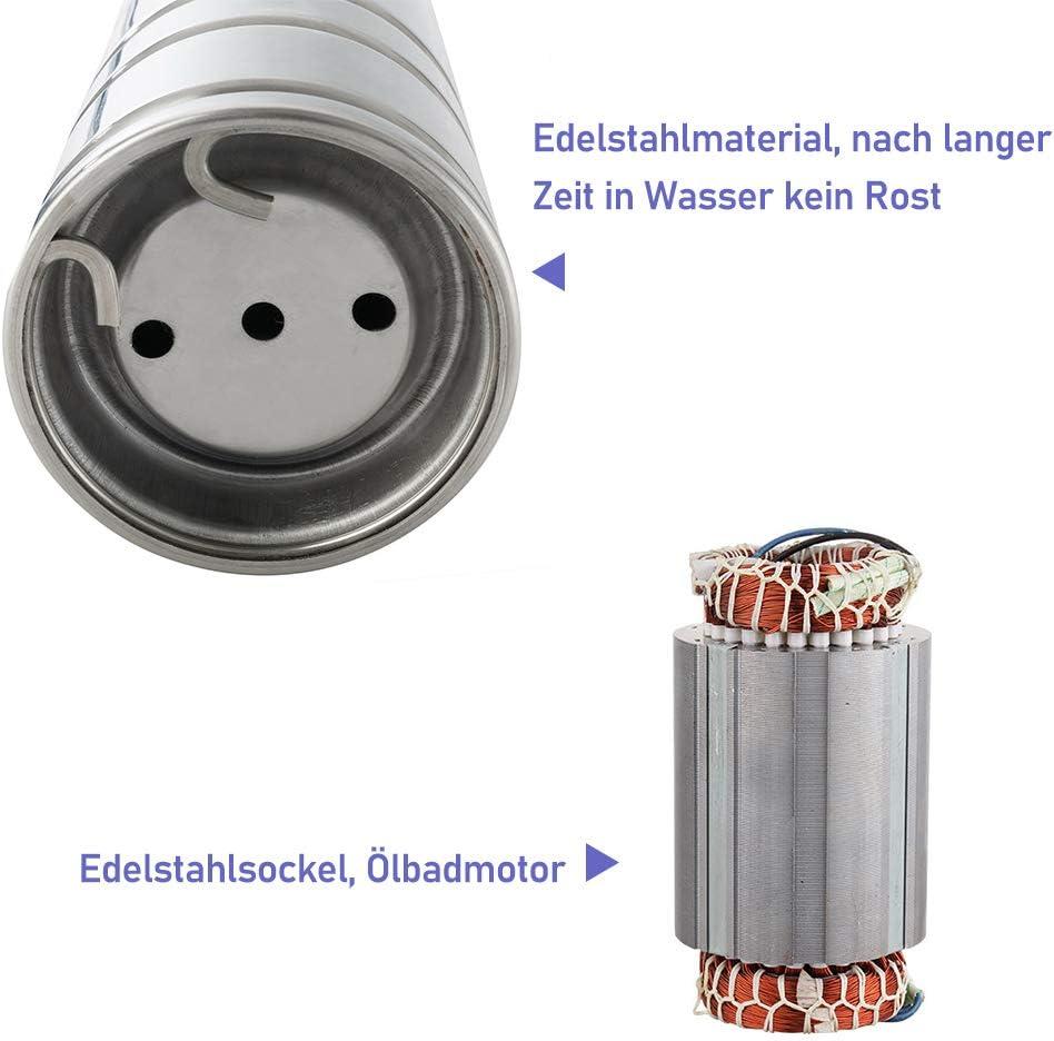 wolketon Tiefbrunnenpumpe 0.75kW//1hp bis 4.000 l//h F/ördermenge Edelstahl Brunnenpumpe Sandvertr/äglich Tauchdruckpumpe 6.7 bar max