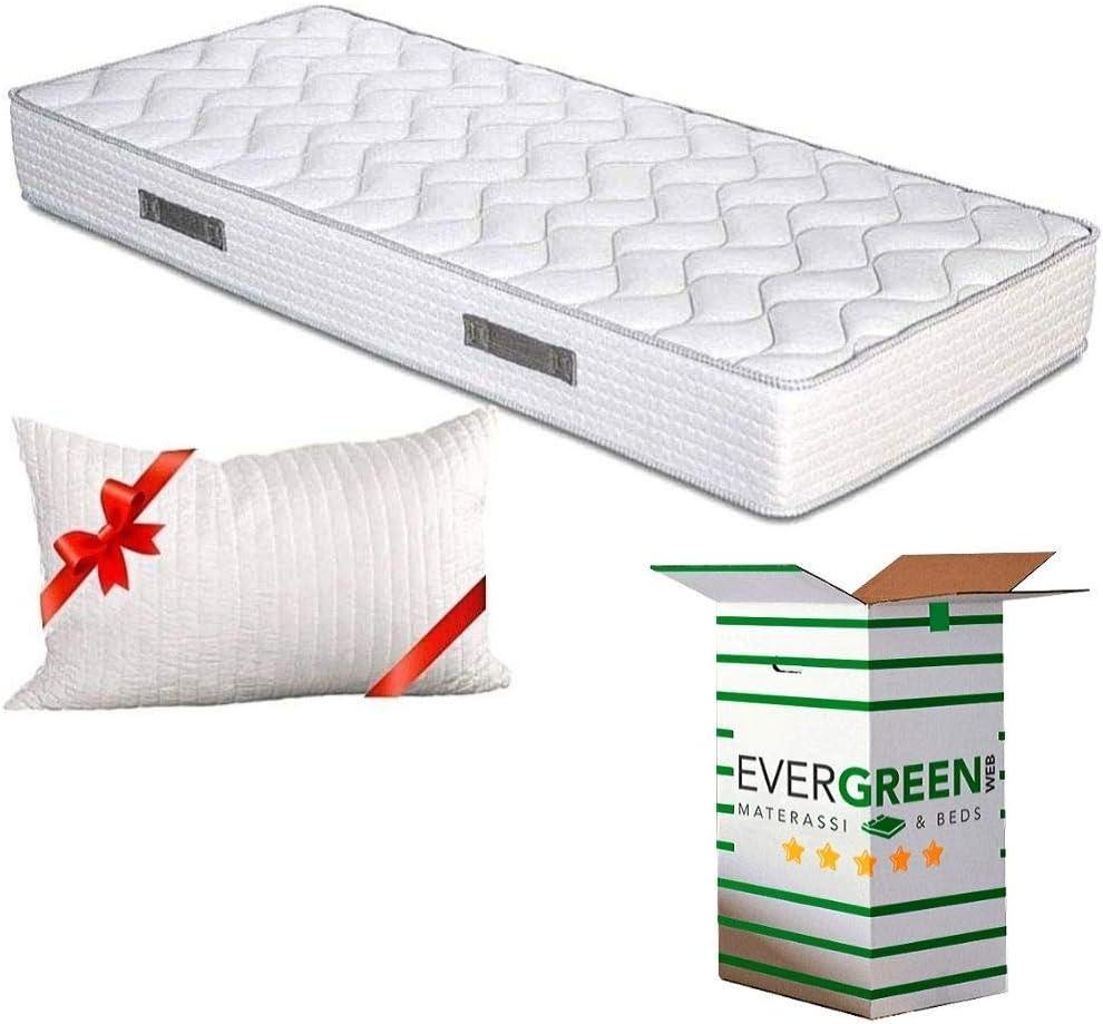 Evergreenweb - Colchón Individual 75x190 Espuma de 20 cm de Altura para Cama Doble - Transpirable y máximo Confort - Color Blanco - con Almohada ...