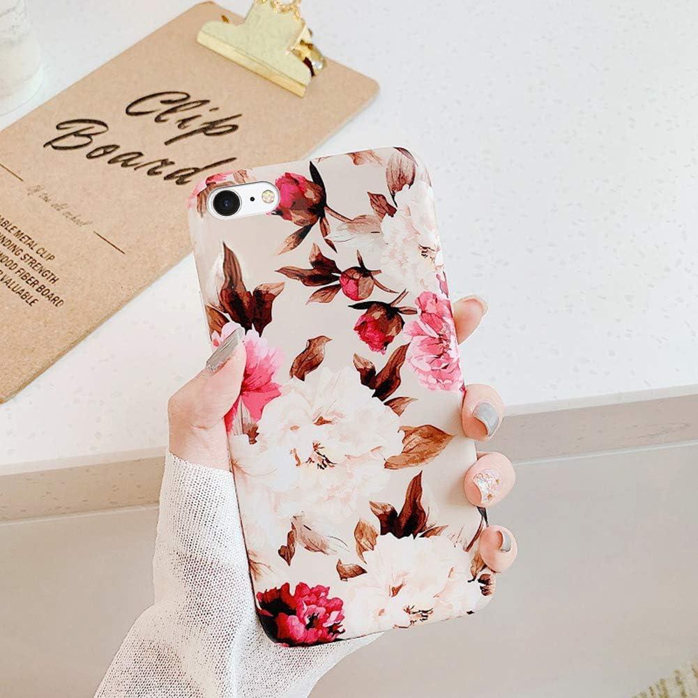Funda para iPhone SE 2020,Banana deja flores pintadas patrón Ultra Fina Silicona TPU Gel Transparente Carcasa Anti-Choque Anti-Arañazos Protectora Case Cover Caso para iPhone SE 2020,Flor de peonía