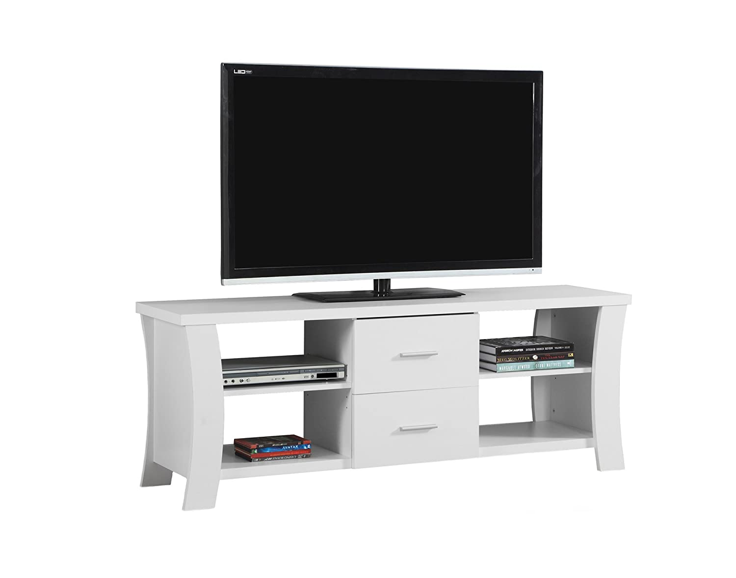 Monarch TV Stand with 2 Drawers, 60 , White