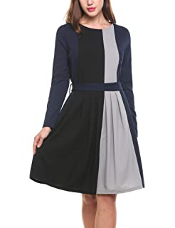 Parabler Damen Winterkleid Skaterkleid Jerseykleid Kontrastfarbe Partykleid  Casual Kleid Knielang A Linie Knielang 98a2b13110