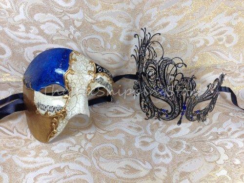 Blue Musical & Filigree Swan Couple Venetian Masquerade Costume Halloween Mask - Celebrity Couples Halloween